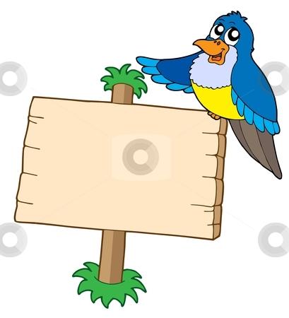 Wooden sign with blue bird stock vector clipart, Wooden sign with blue bird - vector illustration. by Klara Viskova