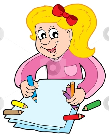 Girl with crayons stock vector clipart, Girl with crayons - vector illustration. by Klara Viskova