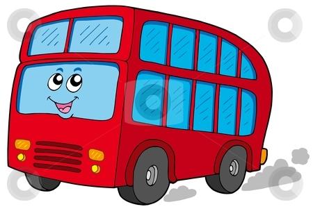 Cartoon doubledecker stock vector clipart, Cartoon doubledecker on white background - vector illustration. by Klara Viskova