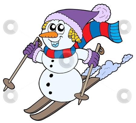 Skiing snowman stock vector clipart, Skiing snowman on white background - vector illustration. by Klara Viskova