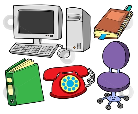 Office collection stock vector clipart, Office collection on white backgound - vector illustration. by Klara Viskova