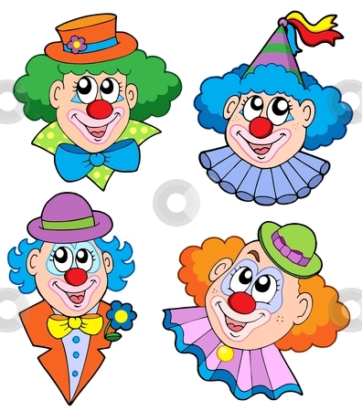Clowns head collection stock vector clipart, Clowns head collection - vector illustration. by Klara Viskova