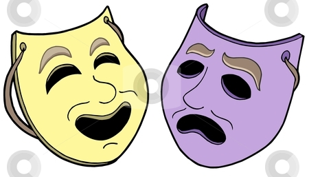 Pair of theatre masks stock vector clipart, Pair of theatre masks - vector illustration. by Klara Viskova