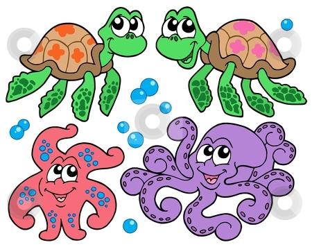 Various cute sea animals collection stock vector clipart, Various cute sea animals collection - vector illustration. by Klara Viskova