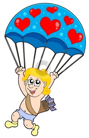 Parachute cupid stock vector clipart, Parachute cupid - vector illustration. by Klara Viskova