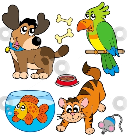 Cartoon pets collection stock vector clipart, Cartoon pets collection - vector illustration. by Klara Viskova
