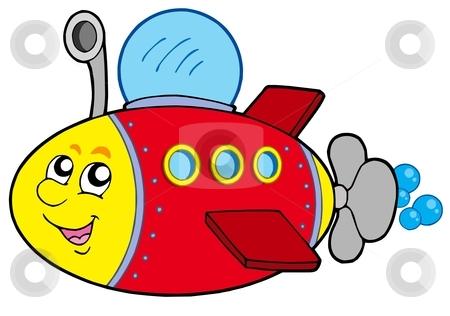 Cartoon submarine stock vector clipart, Cartoon submarine on white background - vector illustration. by Klara Viskova