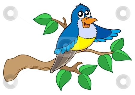 Blue bird sitting on branch stock vector clipart, Blue bird sitting on branch - vector illustration. by Klara Viskova