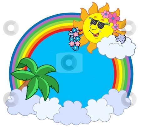 Hawaiian rainbow circle stock vector clipart, Hawaiian rainbow circle - vector illustration. by Klara Viskova
