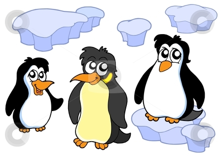 Penguins collection stock vector clipart, Penguins collection on white background - vector illustration. by Klara Viskova