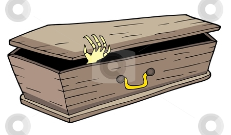 Coffin with waving hand stock vector clipart, Coffin with waving hand - vector illustration. by Klara Viskova