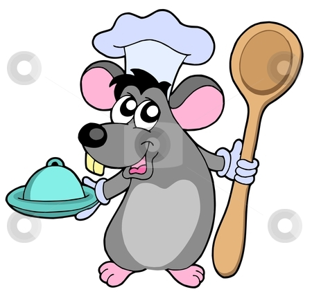 Mouse cook with spoon stock vector clipart, Mouse cook with spoon - vector illustration. by Klara Viskova