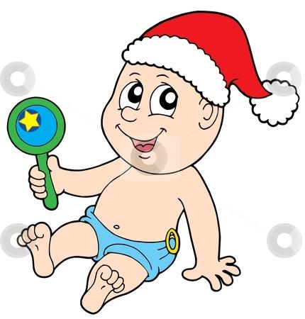 Christmas baby with rattle stock vector clipart, Christmas baby with rattle - vector illustration. by Klara Viskova