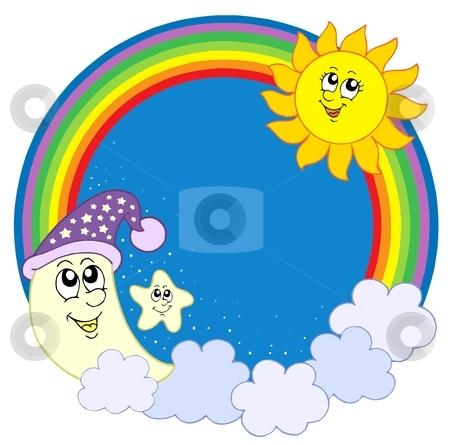 Moon Sun star in rainbow circle stock vector clipart, Moon Sun star in rainbow circle - vector illustration. by Klara Viskova