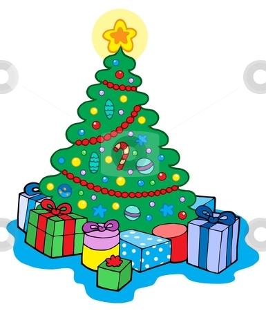 Christmas tree with gifts stock vector clipart, Christmas tree with gifts - vector illustration. by Klara Viskova