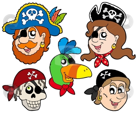 Pirate characters collection stock vector clipart, Pirate characters collection - vector illustration. by Klara Viskova