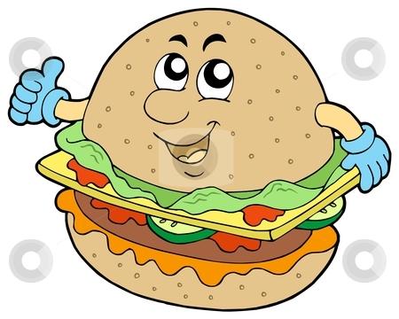 Cartoon hamburger stock vector clipart, Cartoon hamburger on white background - vector illustration. by Klara Viskova