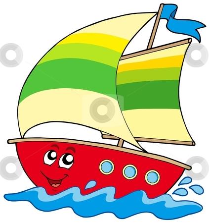 Cartoon sailboat stock vector clipart, Cartoon sailboat on white background - vector illustration. by Klara Viskova