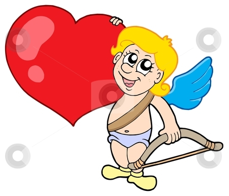 Cute cupid with bow and heart stock vector clipart, Cute cupid with bow and heart - vector illustration. by Klara Viskova