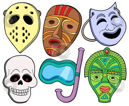 Various masks collection 1 stock vector clipart, Various masks collection 1 - vector illustration. by Klara Viskova