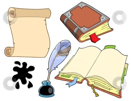 Old books collection stock vector clipart, Old books collection - vector illustration. by Klara Viskova