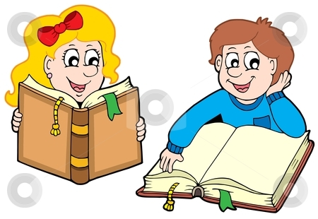 Reading boy and girl stock vector clipart, Reading boy and girl - vector illustration. by Klara Viskova
