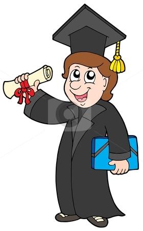 Happy graduate student stock vector clipart, Happy graduate student - vector illustration. by Klara Viskova