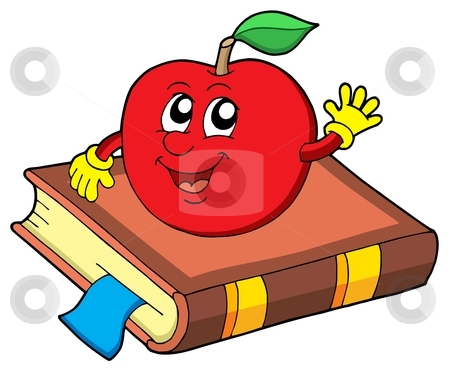 Smiling apple on book stock vector clipart, Smiling apple on book - vector illustration. by Klara Viskova