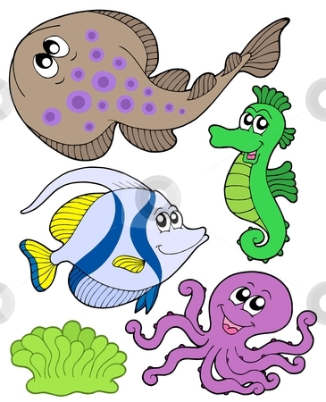 Cute marine animals collection 3 stock vector clipart, Cute marine animals collection 3 - vector illustration. by Klara Viskova