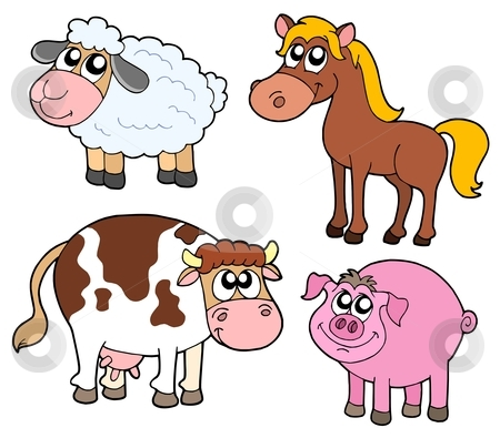 Farm animals collection stock vector clipart, Farm animals collection - vector illustration. by Klara Viskova