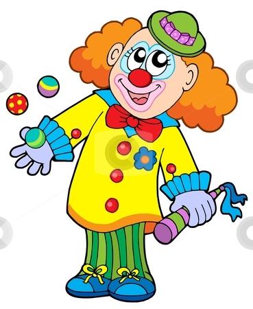 Smiling cartoon clown stock vector clipart, Smiling cartoon clown - vector illustration. by Klara Viskova