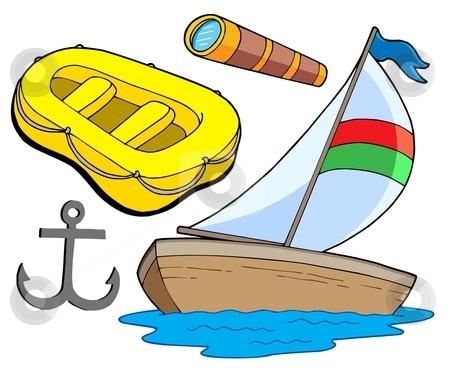Boat and sailing collection stock vector clipart, Boat and sailing collection - vector illustration. by Klara Viskova