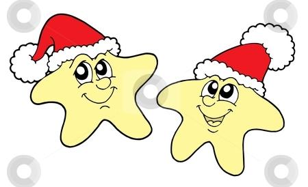 Stars in Christmas caps vector illustration stock vector clipart, Stars in Christmas caps - vector illustration. by Klara Viskova