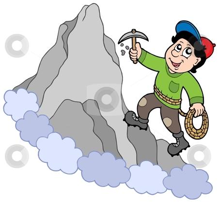 Rock climber on mountain stock vector clipart, Rock climber on mountain - vector illustration. by Klara Viskova