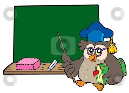 Owl teacher with book and blackboard stock vector clipart, Owl teacher with book and blackboard - vector illustration. by Klara Viskova
