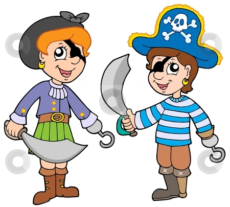 Pirate boy and girl stock vector clipart, Pirate boy and girl - vector illustration. by Klara Viskova