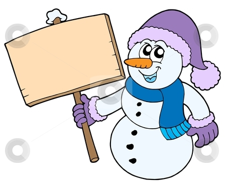 Snowman with wooden sign stock vector clipart, Snowman with wooden sign - vector illustration. by Klara Viskova