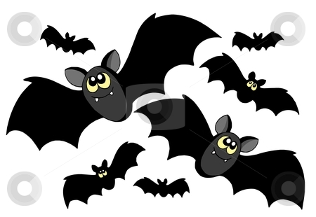 Bats silhouettes stock vector clipart, Bats silhouettes on white background - vector illustration. by Klara Viskova