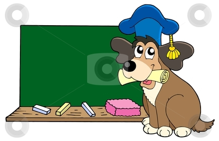 Dog teacher with blackboard stock vector clipart, Dog teacher with blackboard - vector illustration. by Klara Viskova