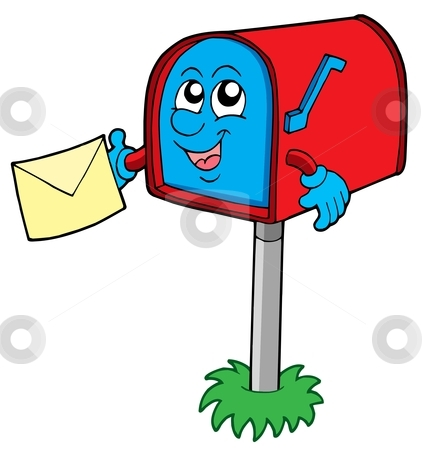 Mail box with letter stock vector clipart, Mail box with letter - vector illustration. by Klara Viskova