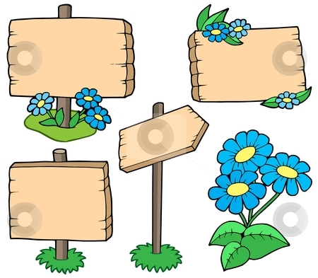 Wooden tables with flowers collection stock vector clipart, Wooden tables with flowers collection - vector illustration. by Klara Viskova