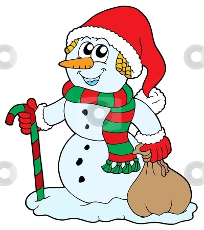 Santa snowman stock vector clipart, Santa snowman on white background - vector illustration. by Klara Viskova