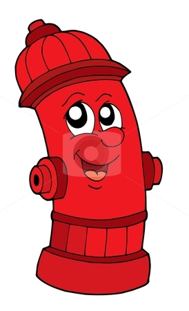 Cute red fire hydrant stock vector clipart, Cute red fire hydrant - vector illustration. by Klara Viskova