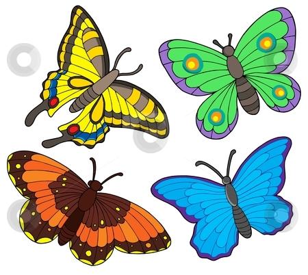 Butterfly collection stock vector clipart, Butterfly collection on white background - vector illustration. by Klara Viskova