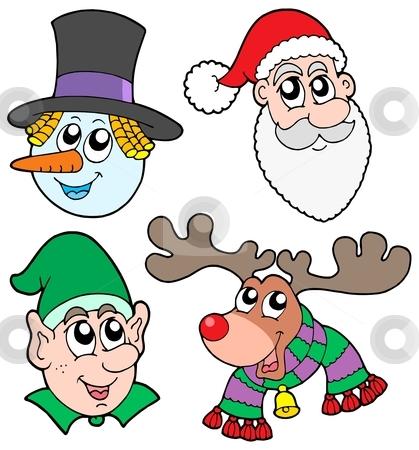 Christmas faces collection stock vector clipart, Christmas faces collection - vector illustration. by Klara Viskova