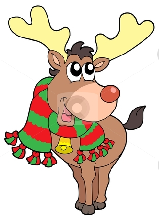 Smiling Christmas elk stock vector clipart, Smiling Christmas elk - vector illustration. by Klara Viskova