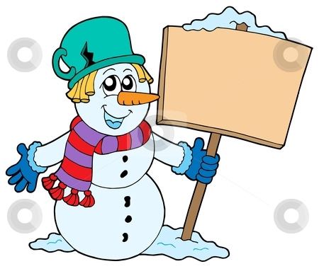 Snowman with sign stock vector clipart, Snowman with sign - vector illustration. by Klara Viskova