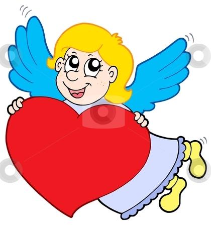 Smiling cupid with heart stock vector clipart, Smiling cupid with heart - vector illustration. by Klara Viskova