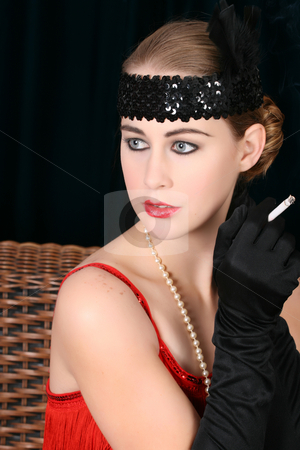 Beautiful female stock photo, Beautiful young female in 1920 style attire by Vanessa Van Rensburg
