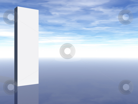 Blank sign stock photo, Blank white column in front of blue sky - 3d illustration by J?